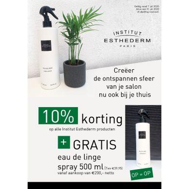 Gratis Eau de Linge Spray 500ml bij Esthederm aankopen vanaf €200,-